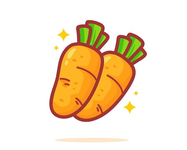 Illustrazione disegnata a mano di arte del fumetto della carota