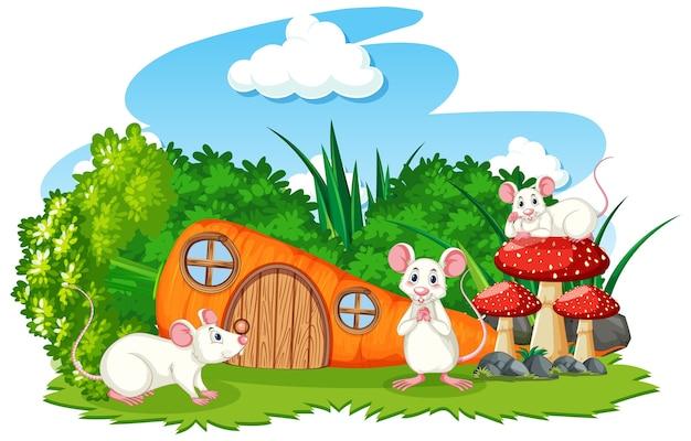 Casa di carote con tre mouse in stile cartone animato su sfondo bianco