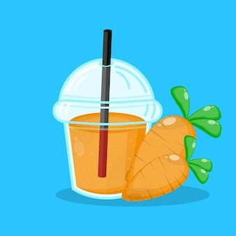 Succo di carota con l'icona del bicchiere di plastica