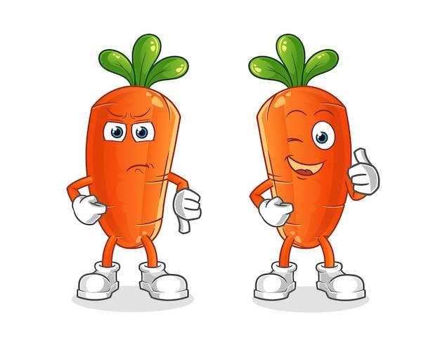 Pollici in su e pollici in giù della carota del fumetto.