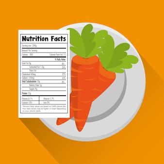 Carota con il disegno dell'illustrazione di vettore di fatti di nutrizione
