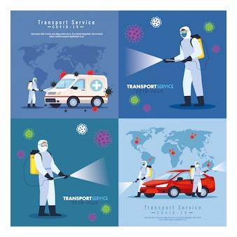 Servizio di disinfezione auto, prevenzione coronavirus, superfici pulite in auto con spray disinfettante, persone con tuta a rischio biologico