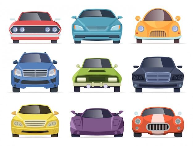 Auto vista frontale. raccolta del fumetto di trasporto dei veicoli commerciali del furgone del bus del taxi Vettore Premium