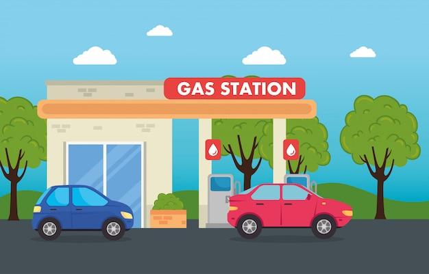 Automobili nella stazione di servizio del gas, progettazione dell'illustrazione di vettore del gas della stazione di servizio
