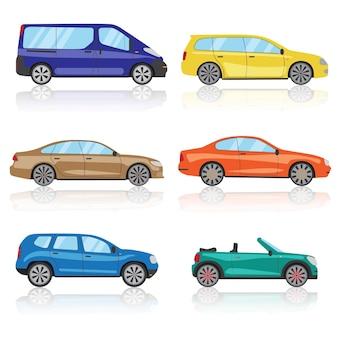 Set di icone di automobili. 6 diverse icone di auto sportive 3d colorate. vettore