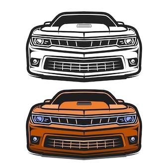 Illustrazione vettoriale di disegno di fumetti di sport muscolari di auto