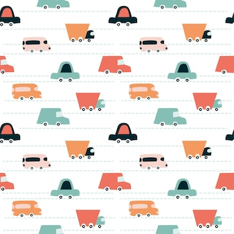 Modello di automobili. modello senza cuciture sveglio infantile. stampa per carta digitale, scrapbooking, tessuto, giochi per bambini. design universale per camerette e feste di compleanno. illustrazione vettoriale, scarabocchio