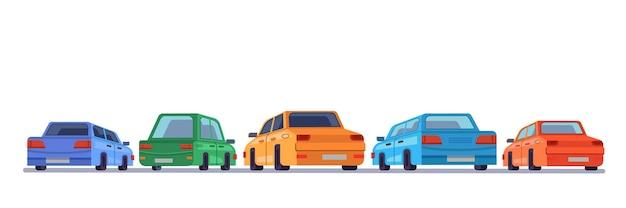 Parcheggio sul retro dei veicoli dei cartoni animati sul retro delle auto
