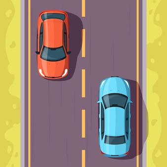 Auto su strada semi piatta illustrazione vettoriale vista dall'alto. trasporto su strada in campagna. veicoli sul percorso cittadino. traccia percorso. linea di traffico. priorità bassa del fumetto 2d dell'autostrada dell'asfalto per uso commerciale