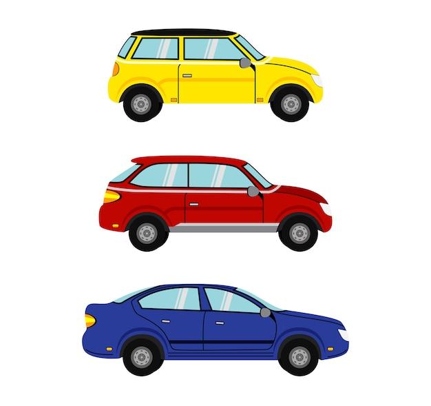 Set di automobili. modello di auto su sfondo bianco.