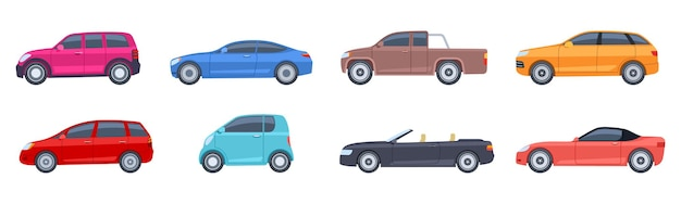 Auto impostate in stile piatto