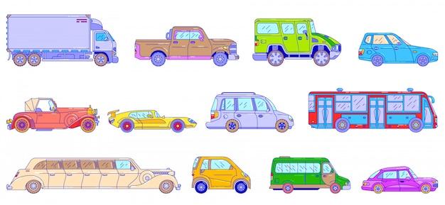 Automobili e veicoli, illustrazione al tratto, trasporto automatico di stile moderno e retrò isolato su bianco, linea arte stile.