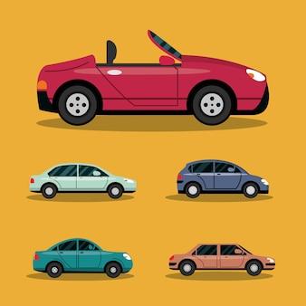 Concetto di trasporto di automobili e veicoli, illustrazione di trasporto urbano