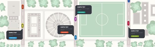 Automobili con il discorso della bolla di chiacchierata che guida le vie della città di concetto di comunicazione della rete di media sociali della strada con l'orizzontale di vista di angolo superiore delle costruzioni