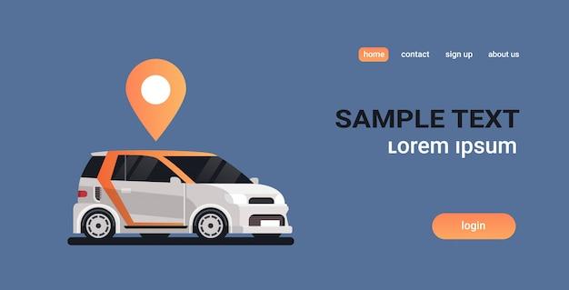 Auto con targhetta geo tag ordinazione online taxi car sharing car sharing concetto trasporto mobile servizio di car sharing