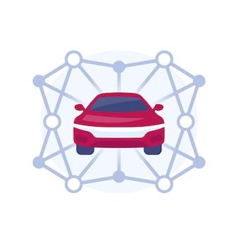 Illustrazione di car sharing con un'auto e percorsi