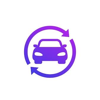 Carsharing, logo del servizio di noleggio, icona con un'auto