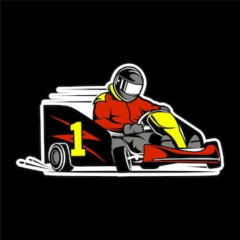 Illustrazione a colori del pilota di kart di kart di karting