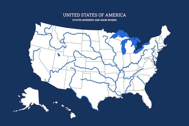 Mappa cartografica degli stati uniti d'america con fiumi, laghi e confini di stato