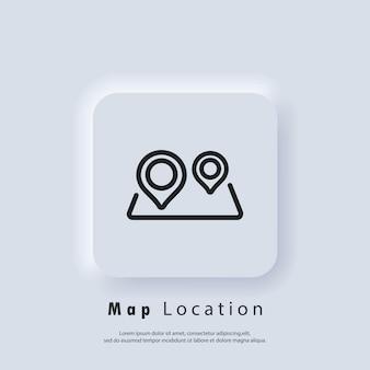 Icona di cartografia. icona della posizione sulla mappa. perno della mappa. posizione del percorso. vettore eps 10. icona dell'interfaccia utente. pulsante web dell'interfaccia utente bianco neumorphic ui ux. neumorfismo