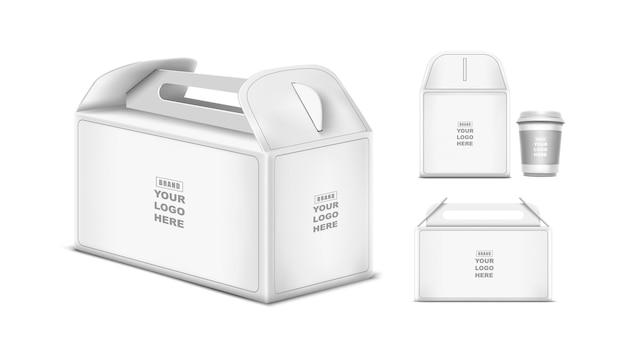 Scatola di cartone per il design modello di pacchetto con manico bianco isolato su sfondo bianco design del marchio
