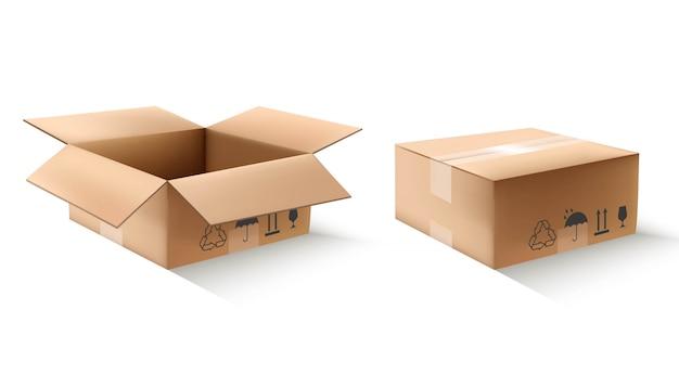 Scatole di cartone in vista aperta e chiusa. illustrazione isolata  dell'icona su fondo bianco. | Vettore Premium