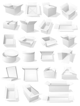 Scatole di cartone, pacchi per imballaggi di merci, contenitori di cartone bianchi per il trasporto.