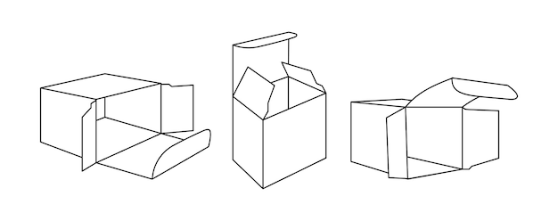 Posizioni del pacchetto di carta aperte in cartone