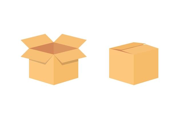Scatola di imballaggio per la consegna in cartone. modello di mockup scatola di imballaggio vuota. cartone. scatola di cartone aperta e chiusa. scatole di imballaggio