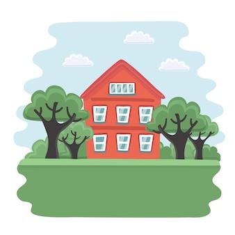 Illustrazione di cartone della vecchia casa rossa