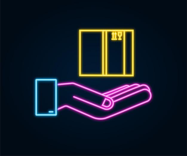 Scatola aperta al neon di cartone nelle mani. simbolo di consegna della spedizione. icona della confezione regalo. illustrazione di riserva di vettore.