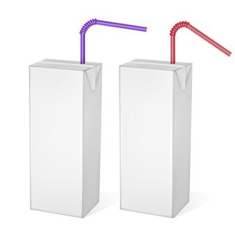 Le confezioni di cartone di latte o succo di frutta isolato su sfondo chiaro. confezioni di cartone, confezione bianca, modello realistico, illustrazione