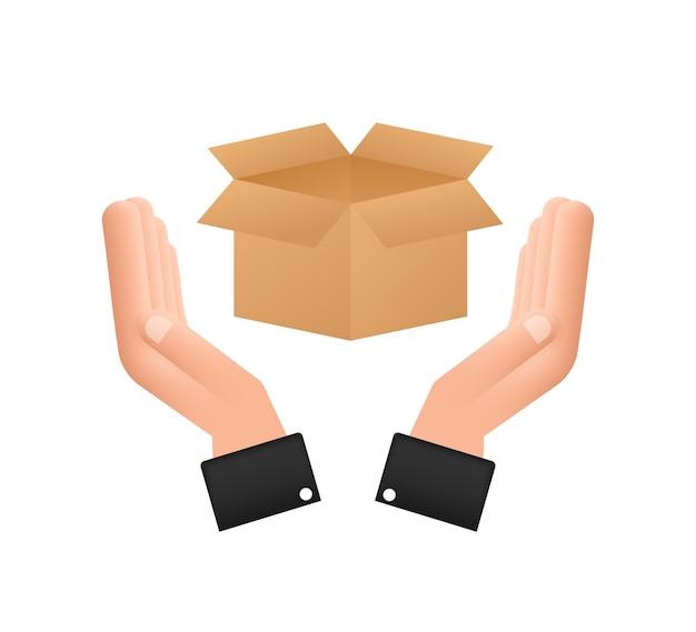 Scatola aperta del pacco di cartone nelle mani. simbolo di consegna della spedizione. icona della confezione regalo. illustrazione di riserva di vettore.