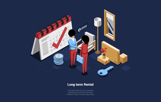 Composizione 3d del fumetto, illustrazione isometrica di vettore sul concetto di noleggio a lungo termine. due personaggi si stringono la mano facendo un affare. articoli per la casa intorno a loro, mobili per la casa. idea di prestito immobiliare.