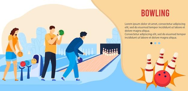Personaggi dei cartoni animati amico attivo giocatore che giocano in pista da bowling