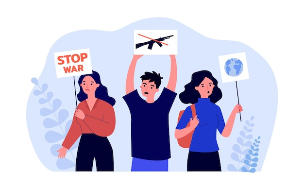 Attivisti dei cartoni animati con cartelli che protestano contro la guerra. la gente alla dimostrazione contro l'illustrazione piana di vettore della violenza. guerra, pace, concetto di protesta per banner, design di siti web o pagina web di destinazione