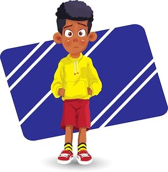 Ragazzo afroamericano cartone animato ragazzo afro
