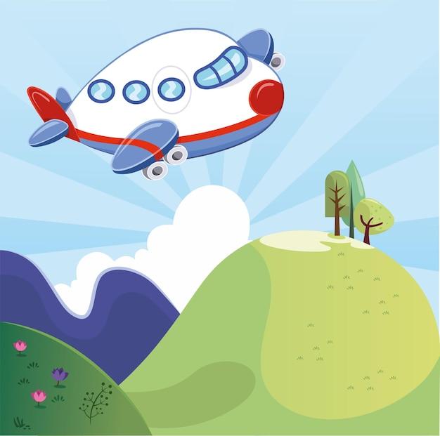 Aereo del fumetto che sorvola l'illustrazione delle montagne verdi