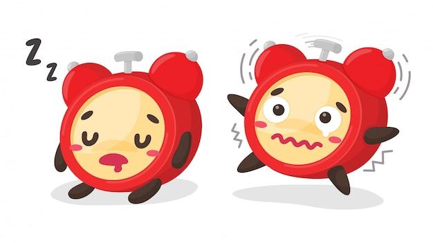 Cartoon sveglia sveglia forte secondo il promemoria del programma per andare a lavorare durante il sonno.