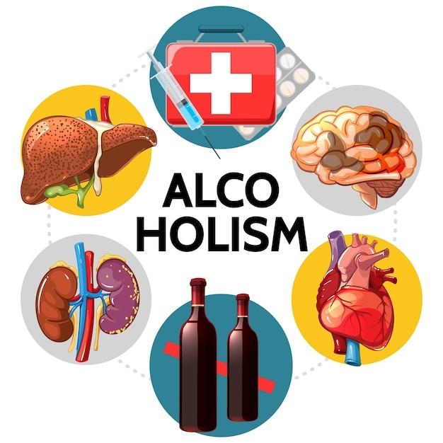Concetto di effetti negativi di alcolismo del fumetto