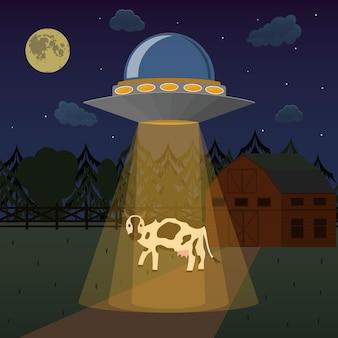 Cartoon alieni astronave o ufo prende mucca concetto di scienza o invasione. illustrazione vettoriale