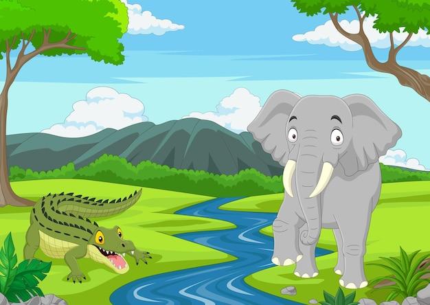 Alligatore cartone animato con elefante nella giungla