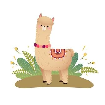 Cartoon alpaca su un terreno isolato su bianco