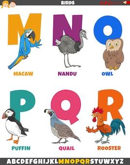 Alfabeto del fumetto impostato con personaggi animali uccelli