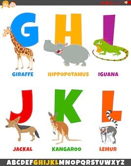 Alfabeto di cartone animato con personaggi animali comici