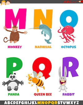Alfabeto di cartone animato con divertenti personaggi animali