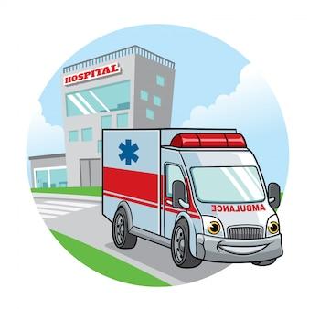 Automobile dell'ambulanza del fumetto con la costruzione dell'ospedale sul backgrund