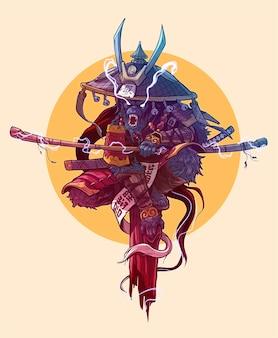 Personaggio samurai re scimmia arrabbiato dei cartoni animati