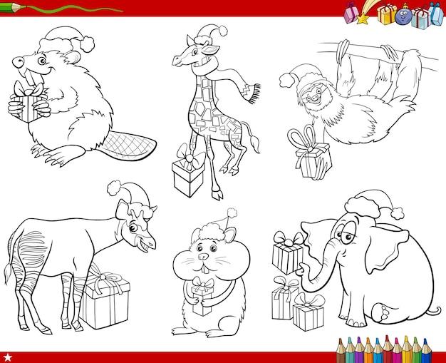 Personaggi animali dei cartoni animati sul set di natale pagina del libro da colorare