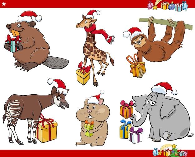 Personaggi animali dei cartoni animati sul set di natale